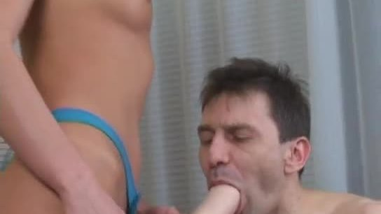 Blonde fucking her man in the ass