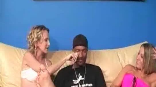 Blonde duo sucks big black