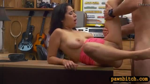 Hot babe flashed boobs and banged hard at the pawnshop
