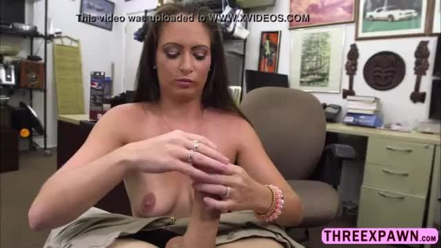 Real amateur sexy brunette banged and grinds into huge cock in the pawnshop