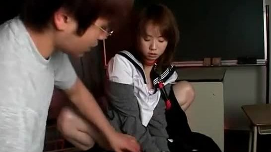 Cute teen jap girl getting cunt masturbated in her school uniform