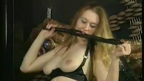 Hot horny blond slave with big tits and great body plays and hits herself with a whip