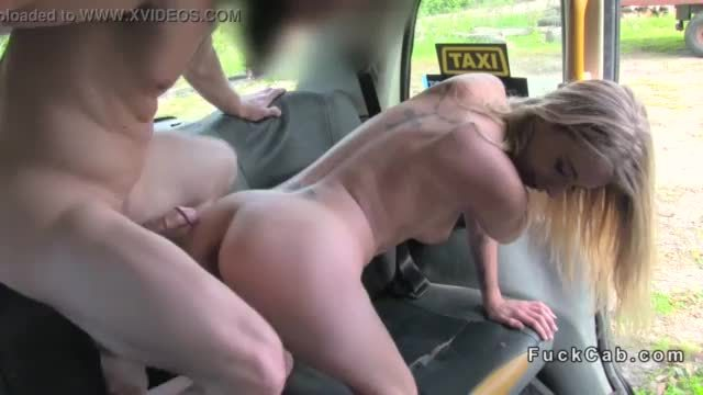 Muscular fake taxi driver bangs blonde in public