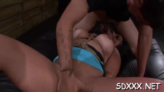 Captivating blonde gets forced into a sloppy oral pleasure