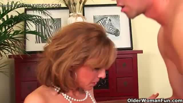 Older lady with hot body gets drilled on the couch