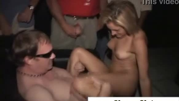 Blonde slut rides a bunch of cock and takes some dick in the front