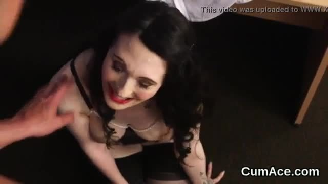 Horny doll gets cumshot on her face swallowing all the jizz