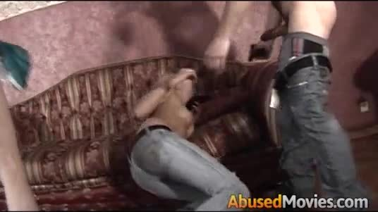 Sexy blonde forced fucked to swallow cum